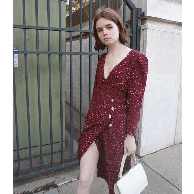 Women Polka Dot Print Wrist Sleeve V Neck Waist Buttons Viscose Elegant Slim Retro Long Wrap Dress Wine Red/Green