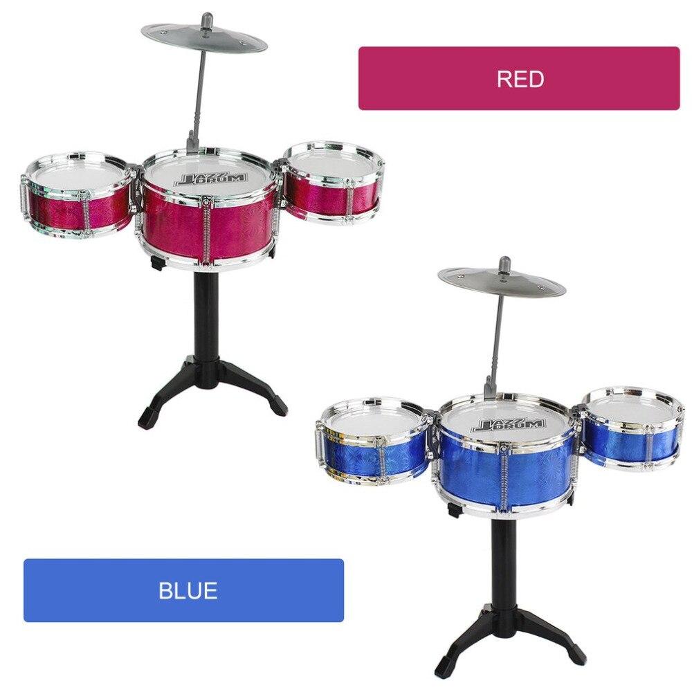 3-Piece Kids Drum Set Children Junior Drums Kit Simulation Jazz Drums Percussion Musical Instrument Wisdom Development Toys 2018