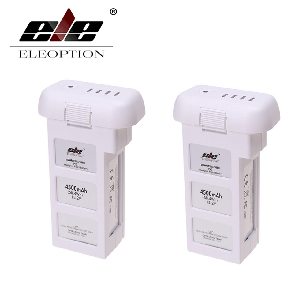 ELEOPTION 2PCS 15.2V 4500mAh 4S Intelligent Flight Battery For DJI Phantom 3 & Phantom 3 Standard аккумулятор dji battery lipo 15 2v 4480 mah 4s for phantom 3