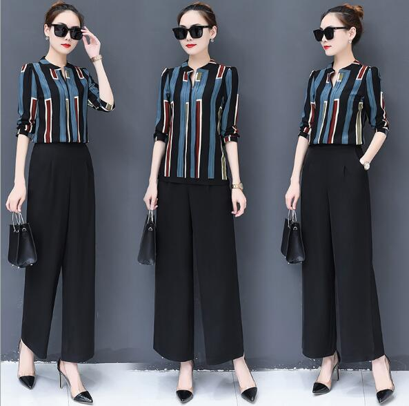 Wide leg pants suit female spring 2018 new women's Korean version of the loose small wind fashion chiffon shirt two-piece