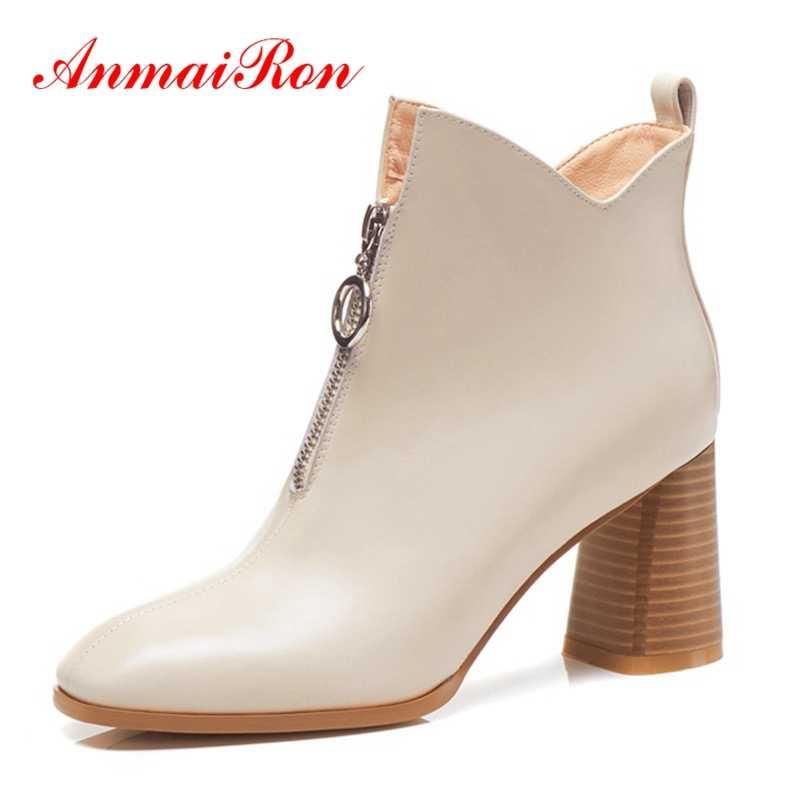 AnmaiRon Stiefel Frauen Botas Mujer Bella Hadid Karree Platz Ferse Botas Mujer Größe 34-39 ZYL1432