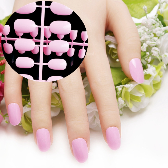 24 stks Candy Ovale Nep Nagels Roze Mooie Ronde Nail Kunstnageltips Sweet Daily Style 008X