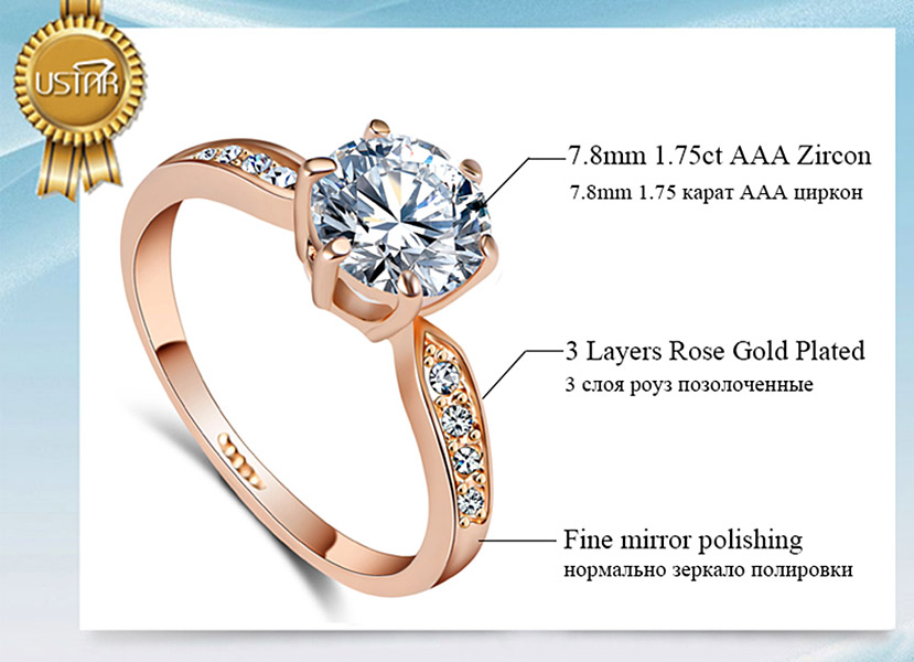 175ct AAA Zircon Engagement Rings for women Rose gold color Wedding