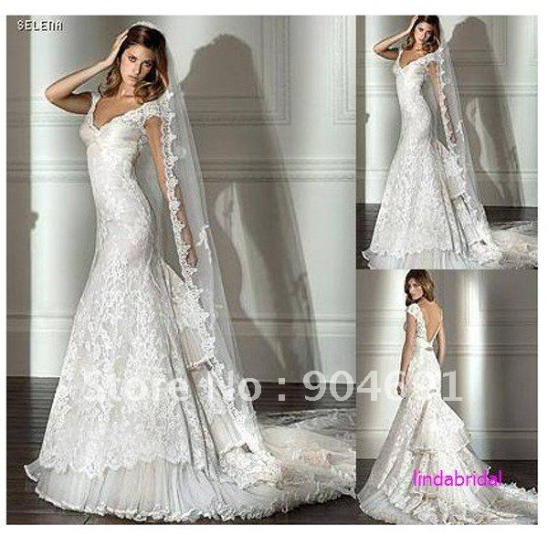 Ancient Cap Sleeves V Neckline Bridal Gown White Lace