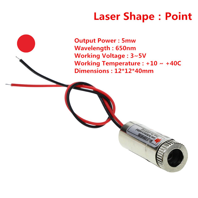 Hot Sale 650nm 5mW Red Point Laser Module Head Glass Lens Focusable Industrial Class