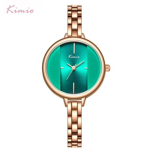 Kimio Brand Women Green Creative Watch Ladies Waterproof Bracelet Dress Watches 2018 Stainless Steel Wristwatch Relogio Feminino
