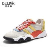 Delivr мужские кроссовки кожаные 2019 Весна новые модные спортивные кроссовки на плоской подошве мужские повседневные туфли мужские дышащие из