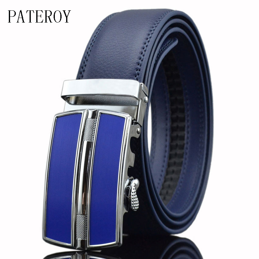 [PATEROY] Designerbälten Män Högkvalitativ äkta läderbälte Herrbälten Luxury Ceinture Homme Luxe Marque Blå Automatisk Kemer