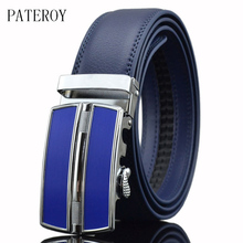 PATEROY Designer Belts Men High Quality Genuine Leather Belt Mens Belts Luxury Ceinture Homme Luxe Marque Blue Automatic Kemer
