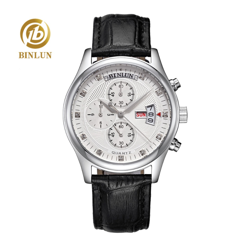 BINLUN 4 Watch Dial Men's Quartz Watch Week/Date/Hours Display Second timer Luxury Multifunction Quartz Watch For Men Waterproof triple dial hour second week display automatic mechanical watch for men tevise 356