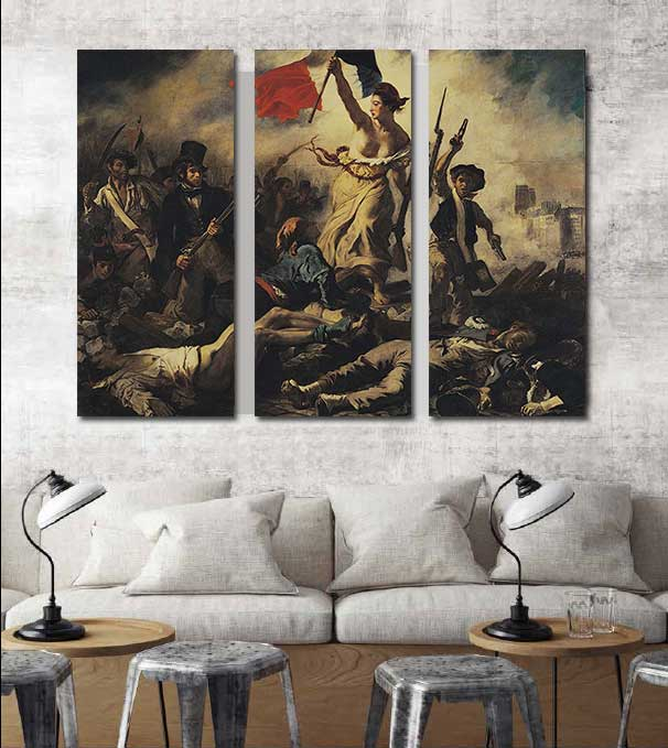 3 IN 1 Liberty Leading the People Oil painting Canvas painting Wall art Home decor Wall pictures for living room Unframed