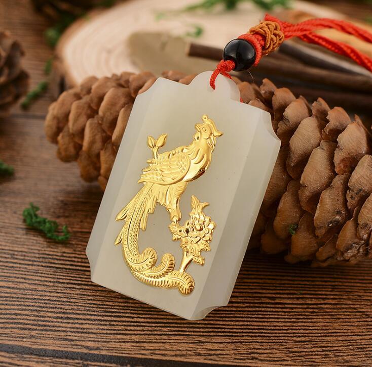 Freies Verschiffen Heiße Verkäufe Unisex Jade Anhänger Top Qualität Vogel Halsketten Schmuck