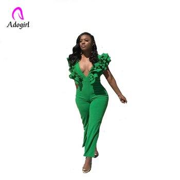 Adogirl Green Women Jumpsuits Female Overalls Ruffles Deep V Neck Sexy Bodysuits Backless Elegant Summer Playsuits Rompers 2019 black deep v neck sleeveless backless zip design playsuits