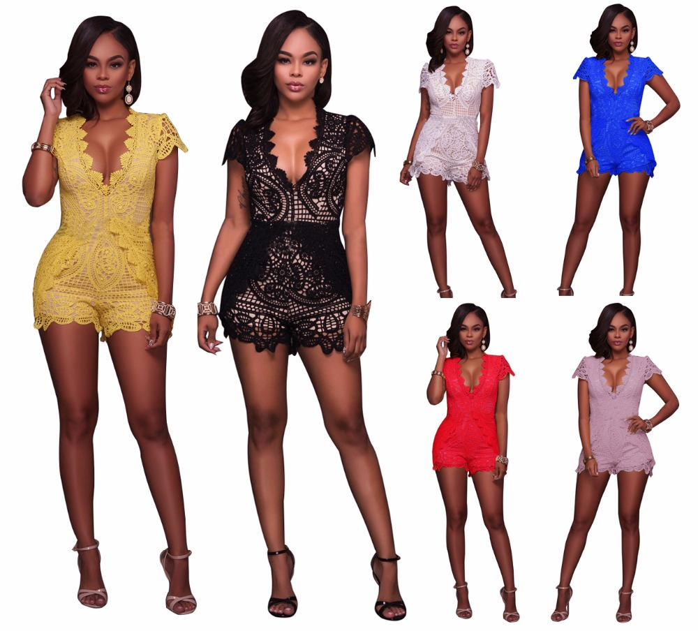 Sexy v-cou dentelle combinaison barboteuses femmes solide évider une pièce discothèque barboteuse été à manches courtes coupe basse Slim combishorts