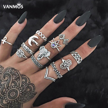 Vanmos Bohemian Vintage Crystal Elephant Rings Set for Women Moon Flower Statement Retro Punk Full Palm Jewelry Gift