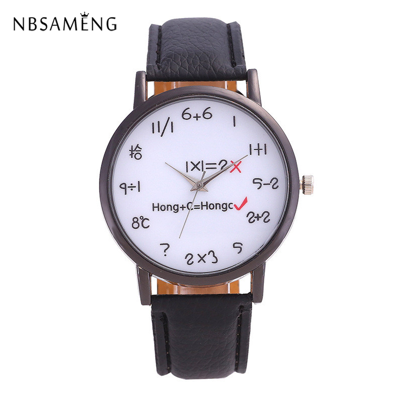 2017 New Arrival Brand Watch Mens Women Fashion Wristwatch Casual Number Watches Cute Math Kids Leather Clock new arrival silver transparent skeleton open face design pocket watch women mens gift clock with 30cm chain p1038c