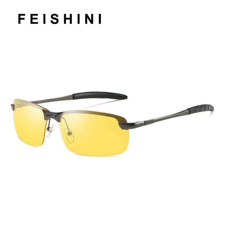 9d77bc6ba1 FEISHINI multifunción de acero inoxidable de los conductores gafas damas  ejercicio barato UVA amarillo gafas de sol para hombres, gafas de visión  nocturna