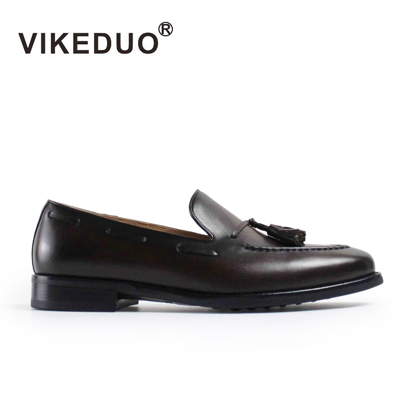 VIKEDUO Luxury Brand Fashion Mens Loafers Shoes Handmade Moccasins Genuine Cow Leather Men's Tassel Boat Shoe 24 pairs 1bag strip genuine leather baby shoes tassel handmade baby boys first walkers fashion shoes baby moccasins fringe