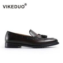 Vikeduo Элитный бренд Модные Мужские Лоферы мокасины ручной работы из натуральной коровьей кожи Для мужчин кисточкой лодка обуви