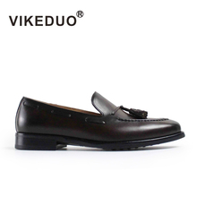 VIKEDUO Luxury Brand Fashion Mens Loafers Shoes Handmade Moccasins Genuine Cow Leather Men's Tassel Boat Shoe