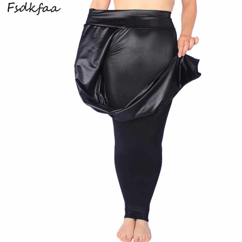 FSDKFAA 2018 Phụ Nữ Cao Eo Xà Cạp Giả Da Màu Đen Matt Xà Cạp Satin PU Rắn In Ấn Quần Cộng Với Kích Thước XL-XXXXXL