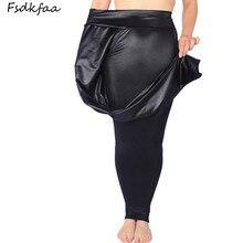 Fsdkfaa leggings femininas cintura alta, couro falso, preta, fosca, cetim, impressão de cobra, calças plus size 2018, XL XXXXXL