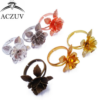 100pcs Mixed Colors Stereo flowers Adjustable Ring Blank Bezel Ring Base Tray Findings TJZT065