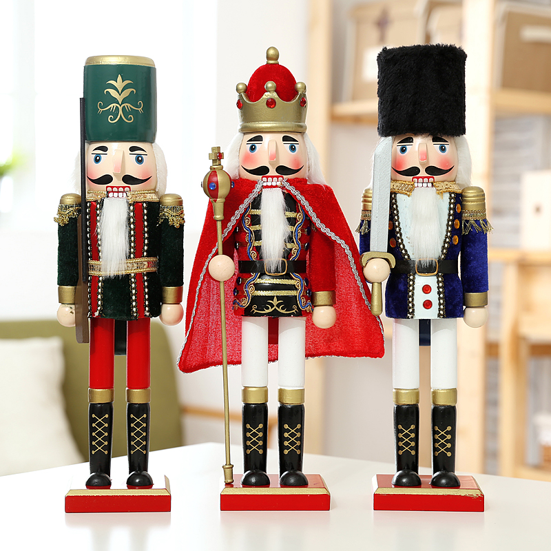 Us 720 10 Offeurope Style 3pcslot 38cm Wood Figurine The Nutcracker Soldier Puppet Antique Wooden Christmas Nutcrackers As Gift In Statues