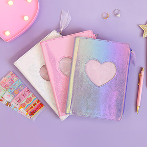 Image 2 - New 2020 Cute Cartoon PU Leather Notebook Laser Heart Diary Personal Diary Week Planner Organizer Note book School Stationery