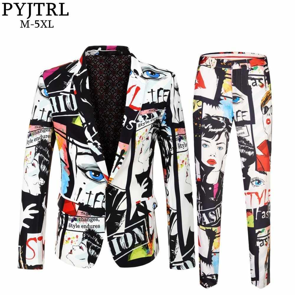 PYJTRL ブランド潮メンズファッションプリント 2 枚セットカジュアルスーツプラスサイズヒップホット男性スリムフィットのスーツの男性歌手の結婚式の衣装