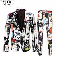 PYJTRL Brand Tide Mens Fashion Print 2 Pieces Set Casual Suits Plus Size Hip Hot Male Slim Fit Suit Men Singer Wedding Costume