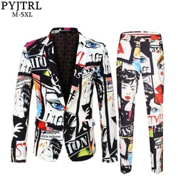 PYJTRL Merk Tij Mens Fashion Print 2 Stuks Set Casual Suits Plus Size Hip Hot Mannelijke Slim Fit Pak Mannen zanger Bruiloft Kostuum