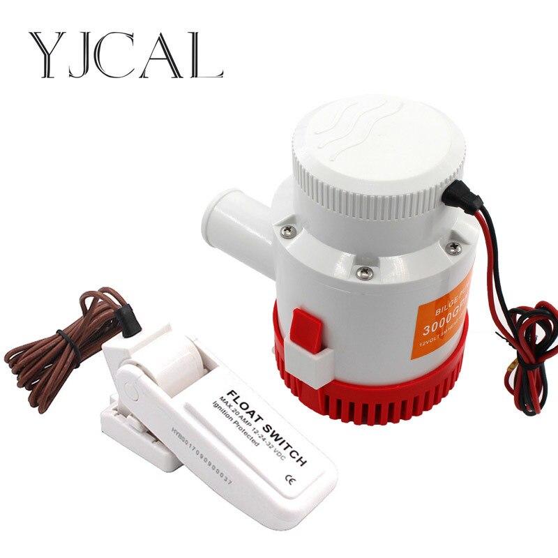 Pompe à eau électrique Submersible 3000GPH DC 12 V 24 V pompe de cale et contrôleur de niveau combinaison d'interrupteur à flotteur pour bateaux