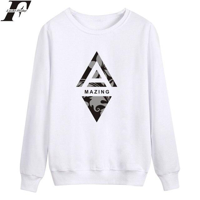 LUCKYFRIDAYF Amazing Print Sweatshirt Funny Design Plus Crewneck Sweatshirt  Men Oversized Loose Casual Warm Pullover Black 51a28fe23