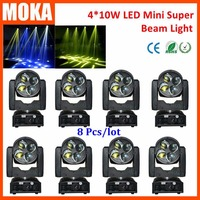 8 Pcs Lot 4 10W RGBW DMX LED Beam Moving Head Spot Light Mini Stage Lighting