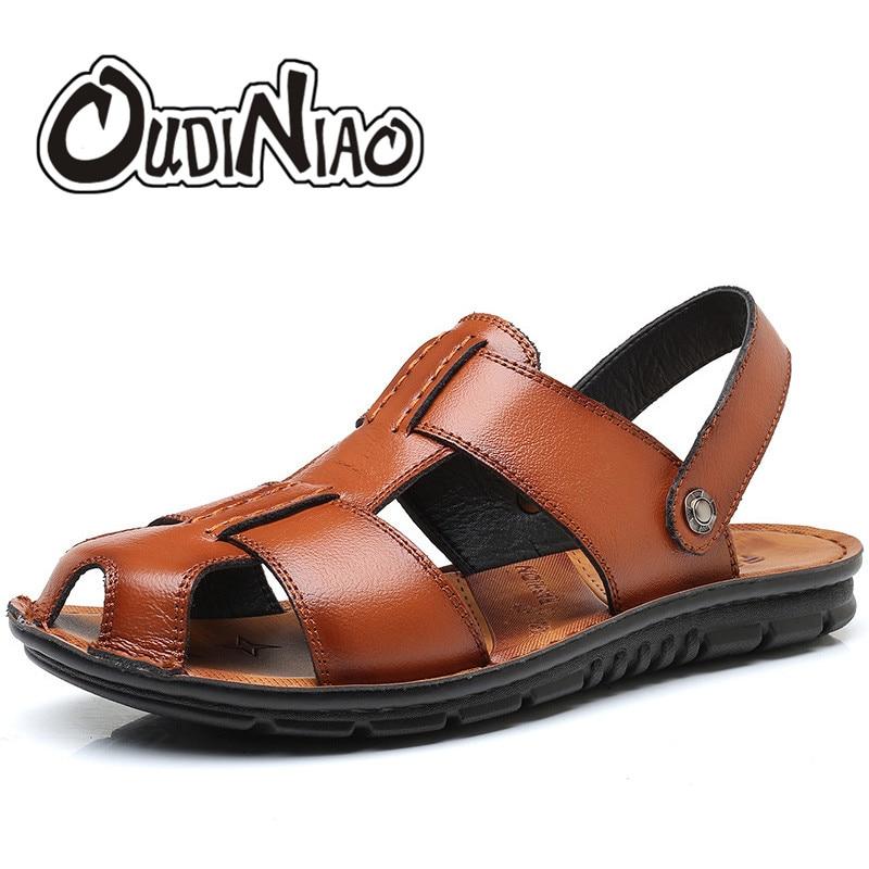 OUDINIAO Mens Shoes Spilt Leather Design Sandals Summer Slipper Men Shoes Beach Breathable Cover Toe Gladiator Slip Sandals Men