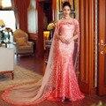 Luxo Deslumbrante Lantejoulas Formal Vestido Pêssego Vestido de Noite Da Sereia Prom Vestidos Com Xaile Aberto Para Trás Vestido de Festa de Casamento 2017 Nova