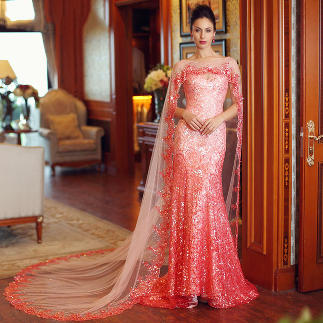 Luxury Stunning Sequined Formal Dress Peach Evening Gown Mermaid Prom  Dresses With Shawl Open Back Wedding Party Dress 2017 New 4867e6a11aa2