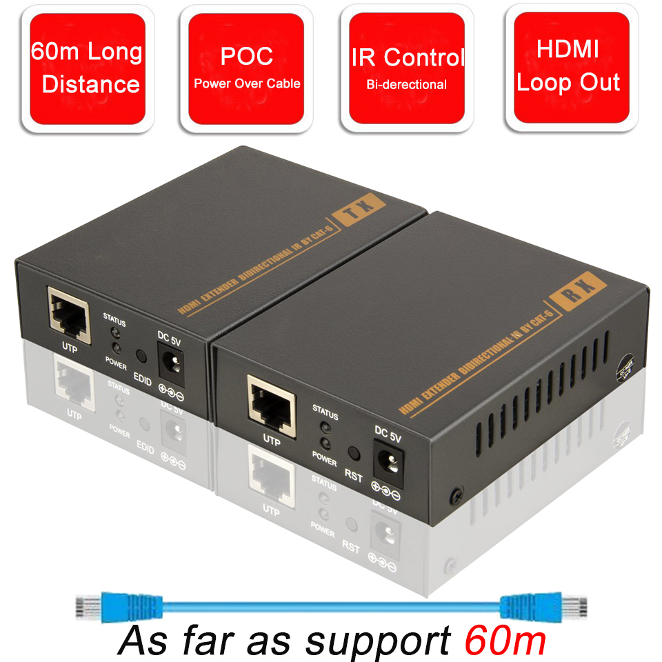 2020 HDMI Extender With IR & Loop Out 1080P HDMI Extender 60m No Loss RJ45 To HDMI Extender Transmitter Receiver Over Cat5e/Cat6