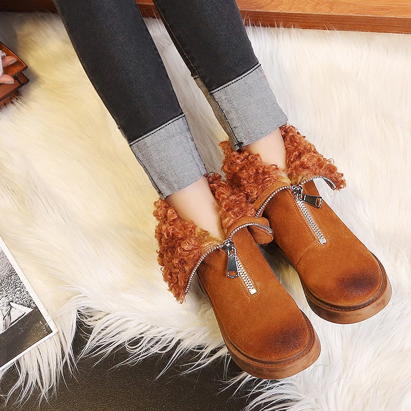 2018-Front-Zipper-Cool-Female-Snow-Boots-Plus-Fur-Winter-Shoes-Flat-Boots-Woman-Lamb-Fur(4)
