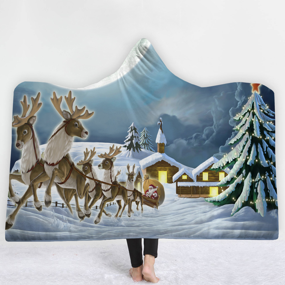 3D Christmas Printed Soft Cozy Blanket with hooded fleece Blanket with cap night-robe winter Wrapped cloak L320-2