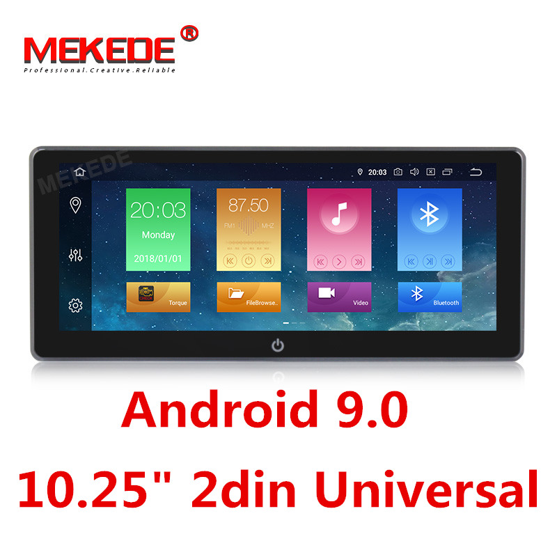 MEKEDE 2 Din 10.25 ''Android 9.0 Octa Núcleo Universal Carro DVD Player Estéreo Rádio FM DAB de GPS de Navegação OBD WI-FI Bluetooth USB