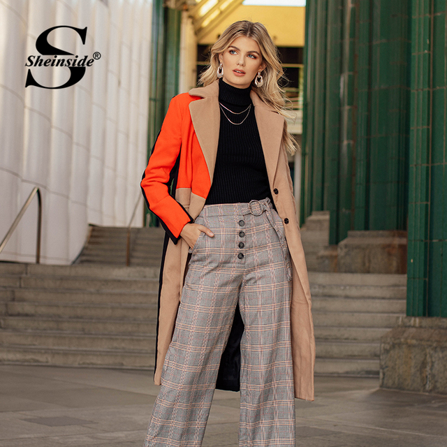 Sheinside Patchwork Double Breasted Coats Women Camel Long Sleeve Color Block Casual Long Outer Winter Work Ladies Coat 5