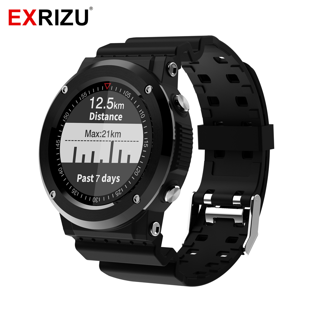 EXRIZU Q6 Smart Watch Heart Rate Monitor IP67 Life Waterproof GPS Outdoor Running Compass Multi Sport