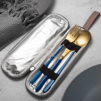 JueQi Tableware Set Cutlery Stainless Steel 304 Utensils Kitchen Dinnerware include Knife Fork TeaSpoons Camping Tableware Bag 5