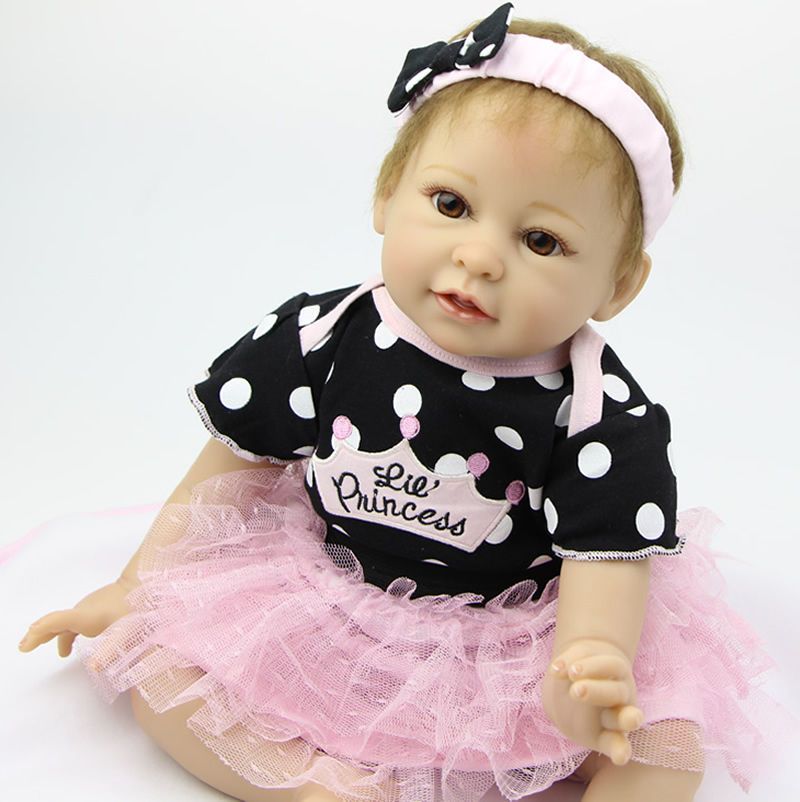 Wholesale 22 Inch Soft Silicone Reborn Girl Doll Realistic Newborn Baby Toys Baby Alive Dolls Children Birthday Gift hot sale 2016 npk 22 inch reborn baby doll lovely soft silicone newborn girl dolls as birthday christmas gifts free pacifier