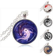 Yin Yang Fish Necklace Ying and Yang Tai Chi Pendant Jewelry Chinese Taoism Eight Diagrams Pattern Jewelry Glass Cabochon Choker