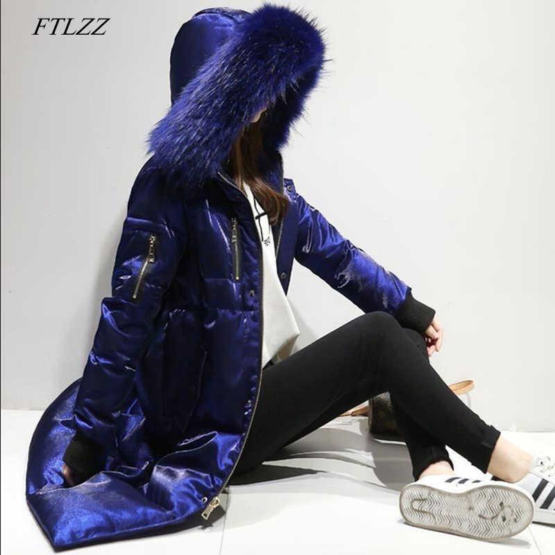FTLZZ Winter Donsjack Vrouwen Grote Bontkraag Capuchon Duck Down Lange Velours Parka Jas Vrouwelijke Warme Sneeuw Bovenkleding