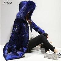 FTLZZ Winter Down Jacket Women Big Fur Collar Hooded Duck Down Long Velour Parkas Coat Female Warm Snow Outerwear