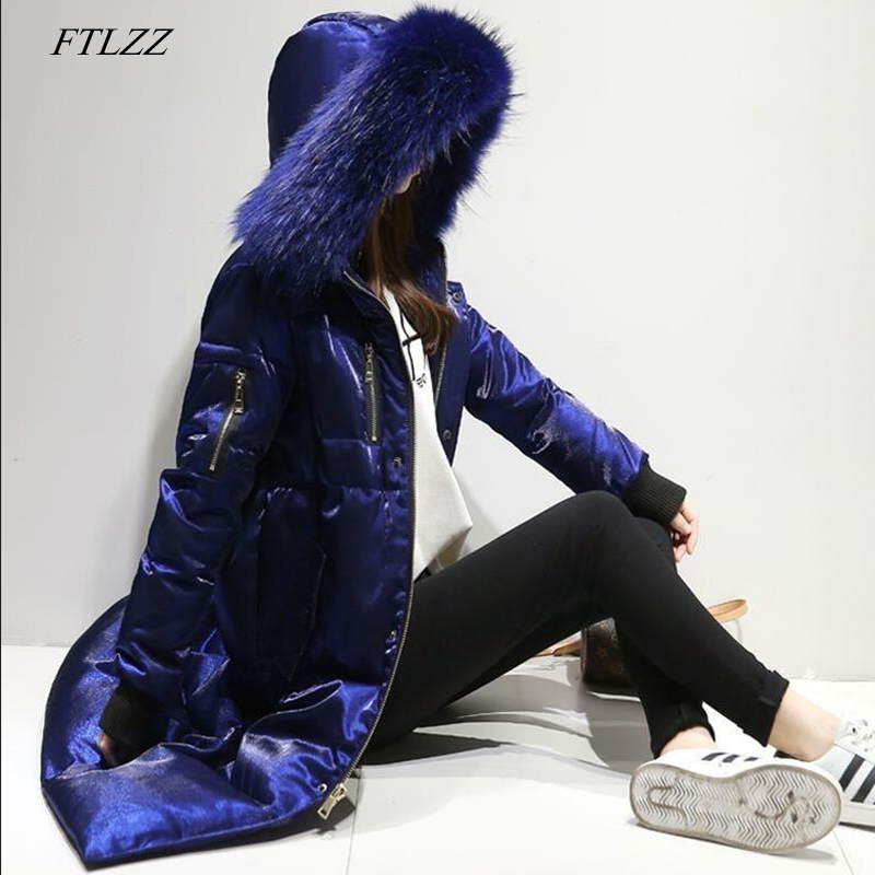 FTLZZ Winter   Down   Jacket Women Big Fur Collar Hooded Duck   Down   Long Velour Parkas   Coat   Female Warm Snow Outerwear